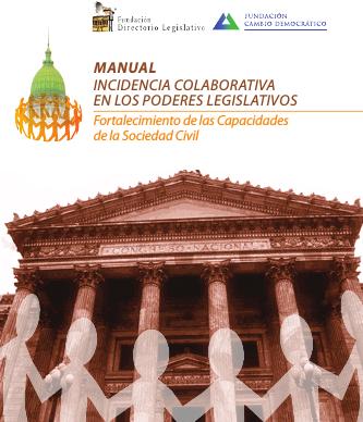 La tapa del manual muestra una foto de edificio con columnas, representando el Congreso y tiene superpuestas siluetas de personas de la mano rodeándolo.